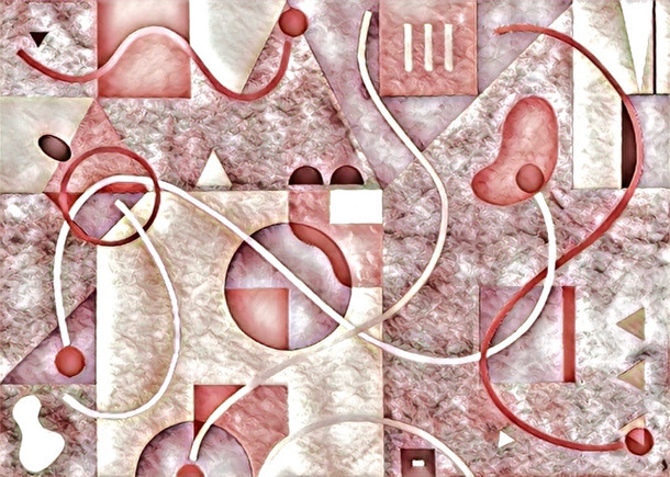 Abstract Painting titled S300-DA (2020) Basic Shapes, Lines, Pink-Red