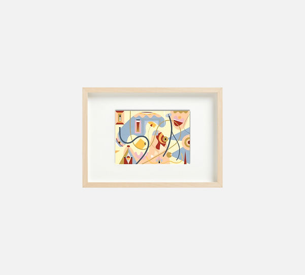 Giclee print of painting  S272 in IKEA birch frame size 21 x 29.7 cm.