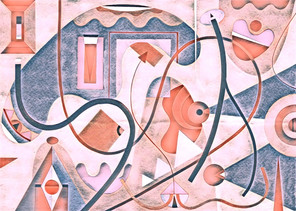 Abstract Painting titled S309-DA (2020) Basic Shapes, Lines, Blue-Pink