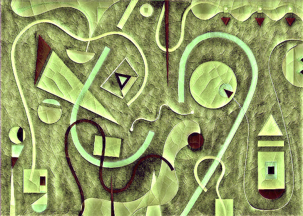 Abstract Painting titled S308-DA (2020) Basic Shapes, Lines, Green-Brown