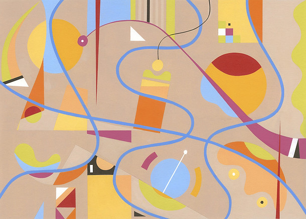 Abstract Painting titled S270 (2019) Colourful, Basic Shapes, Lines, Pink, Orange, Blue