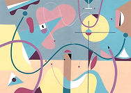 Acrylic painting S266. Colourful and playful abstract. Circles, triangles, and rectangles. Dominant colours are pastel pink, yellow, and blue.