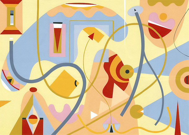 Abstract Painting titled S272 (2019) Colourful, Basic Shapes, Lines, Yellow, Blue, Red