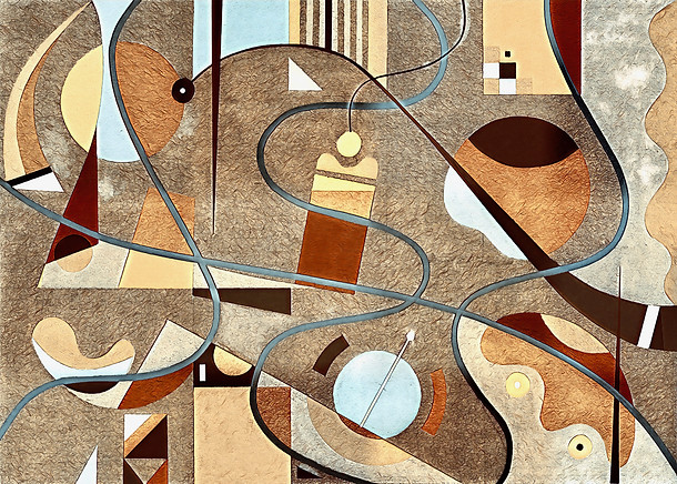 Abstract Painting titled S307-DA (2020) Basic Shapes, Lines, Red-Brown