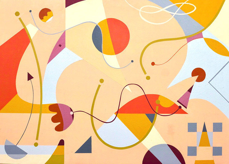 Colourful abstract painting titled S259 using simple shapes and lines.