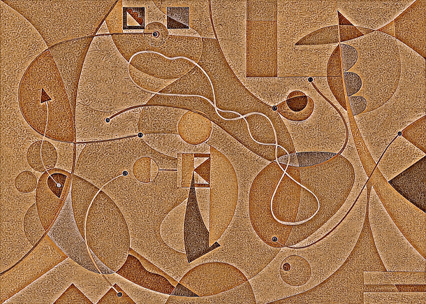 Abstract Painting titled S276-DA (2020) Basic Shapes, Lines, Red-Orange