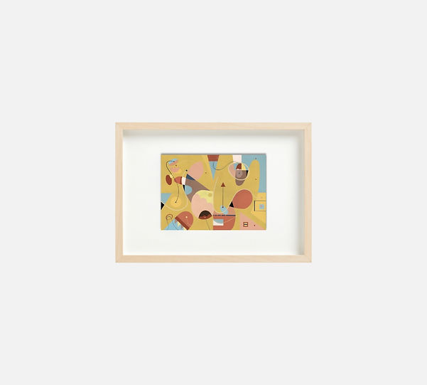 Giclee print of painting  S256 in IKEA birch frame size 21 x 29.7 cm