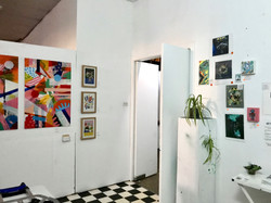 The reception area at Artists' Studio 106 (St Kilda) with doors leading to the main gallery space. T