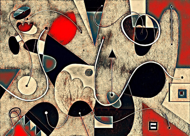 Abstract Painting titled S275-DA (2019) Basic Shapes, Lines, Red-Black-Beige