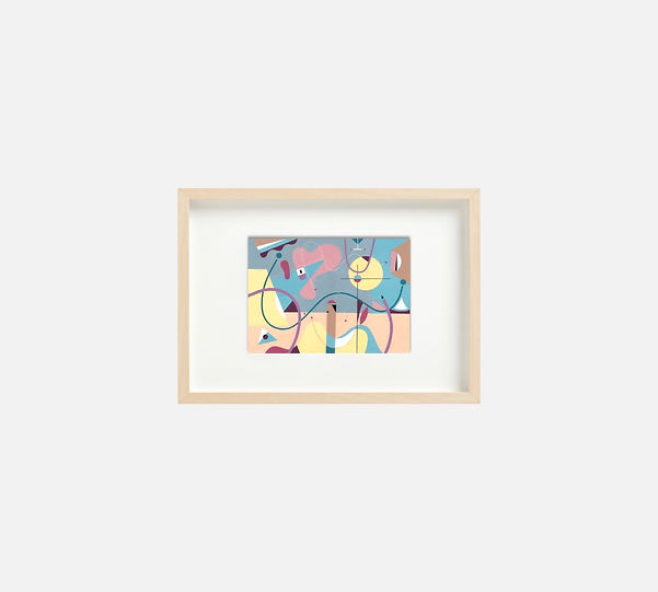Giclee print of painting  S266 in IKEA birch frame size 21 x 29.7 cm.