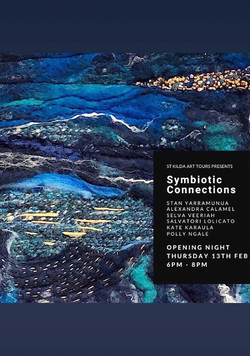 Promotional flyer for the group exhibition 'Symbiotic Connection' at Space2B in St Kilda.