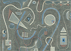 Abstract Painting titled S290-DA (2020) Basic Shapes, Lines, Grey-Blue