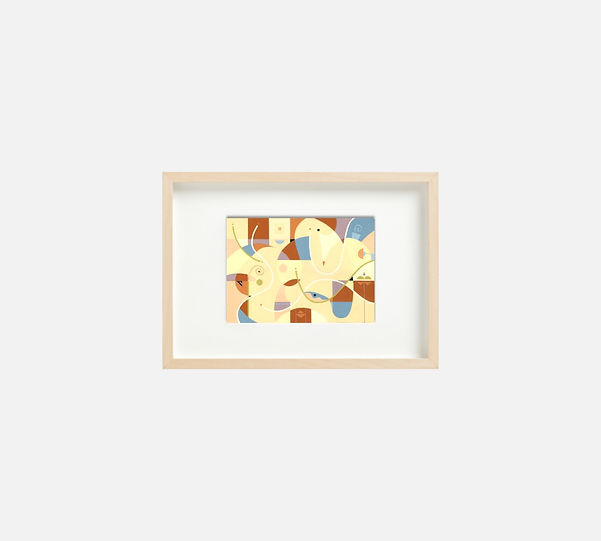 Giclee print of painting  S261 in IKEA birch frame size 21 x 29.7 cm.