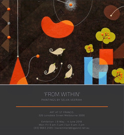 Promotional flyer for Selva Veeriah's solo exhibition 'From Within' at Art @ St Francis.