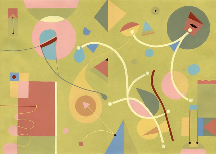 Colourful abstract painting titled S258 using simple shapes and lines.