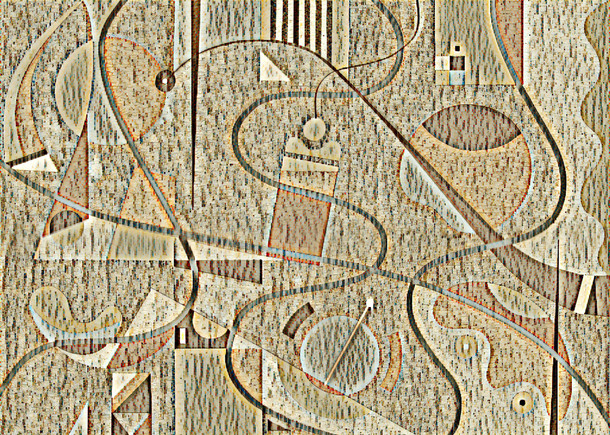Abstract Painting titled S289-DA (2020) Basic Shapes, Lines, Brown