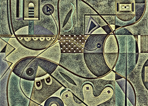 Abstract Painting titled S306-DA (2020) Basic Shapes, Lines, Green-Grey