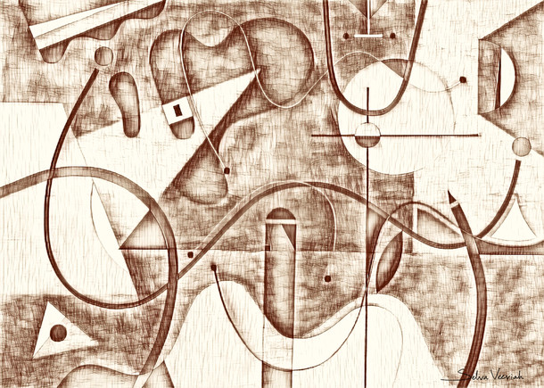 Abstract Painting titled S285-DA (2020) Basic Shapes, Lines, Brown
