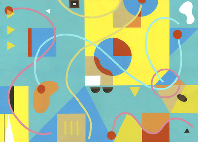Acrylic painting S262. Colourful and playful abstract. Geometric/organic shapes d lines. Dominant colours are bright yellow and light blue.