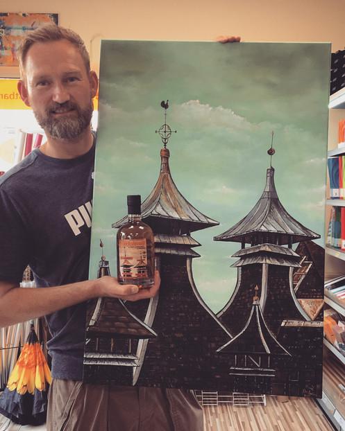 Pagode Bottling Label für einen UA auf einem Tullibardine Single Malt Whisky