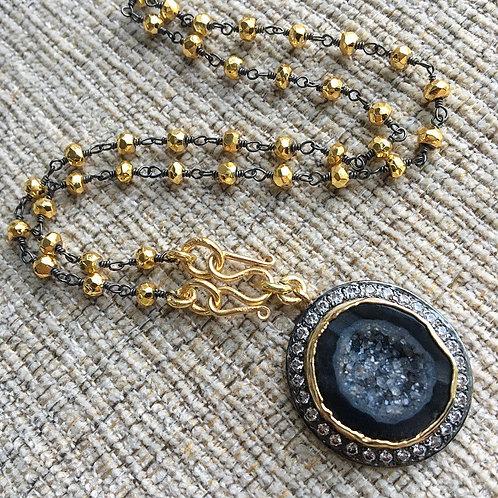 Golden Pyrite & Black Geode Necklace