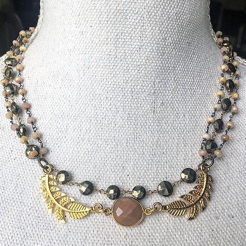 Triple Chain Necklace in Pyrite & Opal