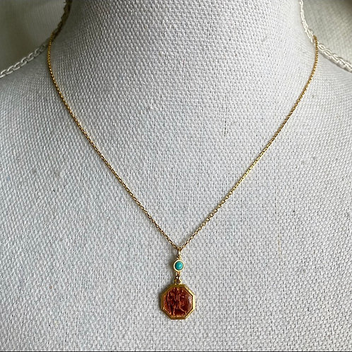 Vintage Saint Christopher & Turquoise Necklace