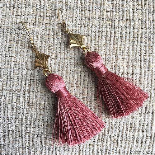 Dusty Rose Nola Tassel Earrings