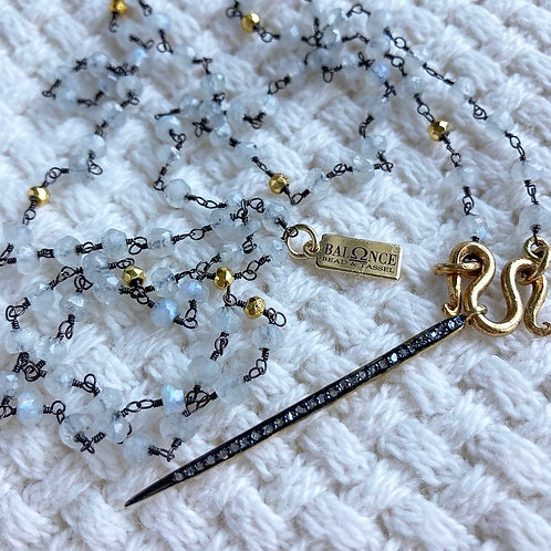 Moonstone and Diamond Spike Necklace