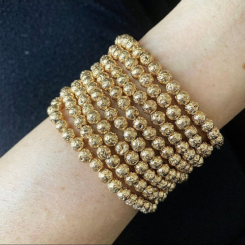 Golden Lava Stacking Bracelets