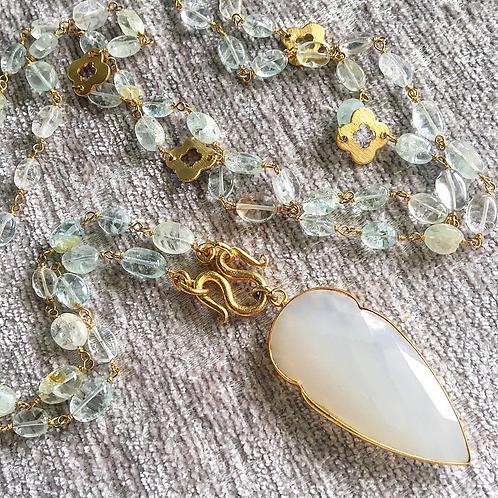 Aquamarine & White Onyx Necklace