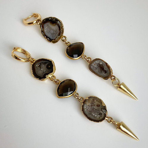 Geode & Smokey Quartz Spike Earrings