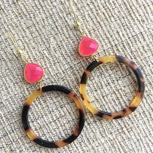 Hot Pink Tortoise Earrings