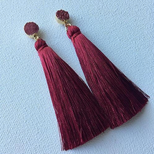 Cranberry Druzy Tassel Earring