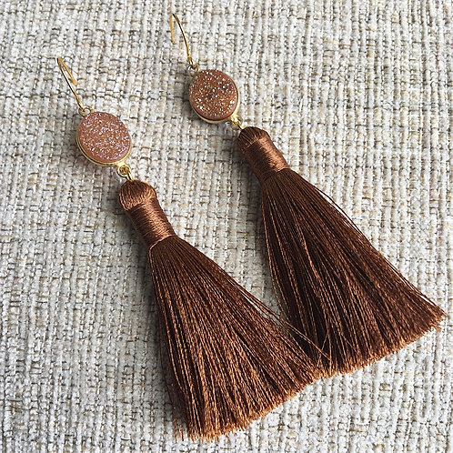 Cinnamon Druzy Tassel Earrings