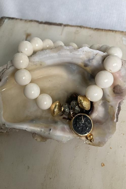 Cream Coral Vermeil Coin Bracelet