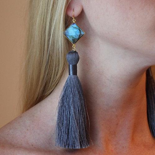 Fancy Labradorite & Slate Blue Tassel Earring