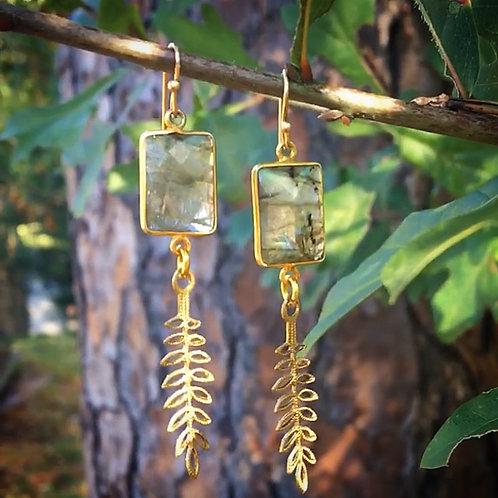 Labradorite Leaf Earrings