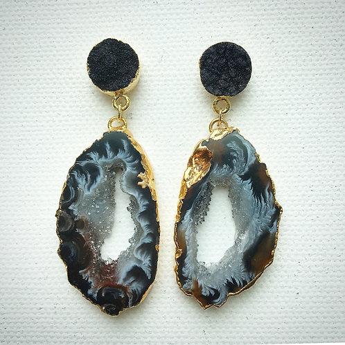 Dark Druzy & Agate Slice Earrings