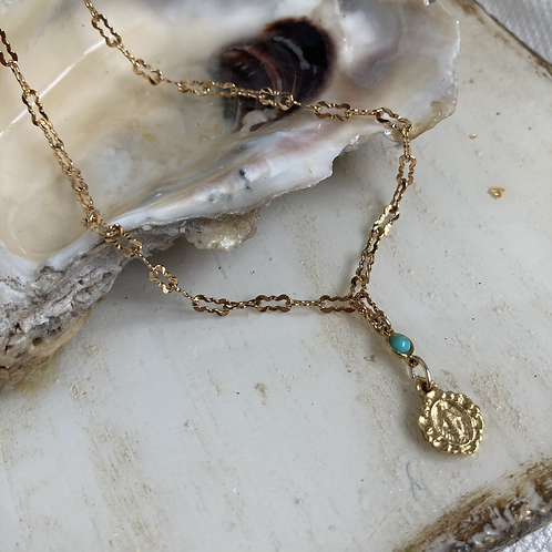 Dainty Turquoise Miraculous Mary Necklace