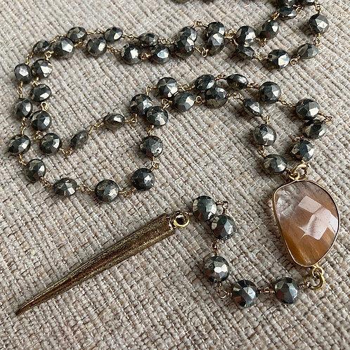 Rutile Quartz & Pyrite Lariat Necklace