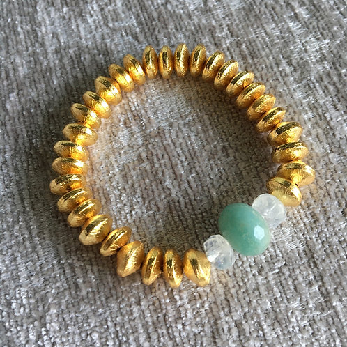 Golden Aquamarine & Moonstone Bracelet