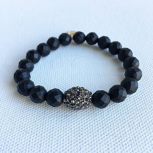 Matte Black Faceted Onyx Bracelet