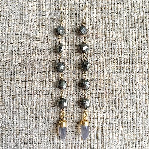 Pyrite & Gray Chalcedony Dangles