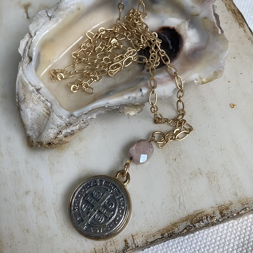 Mystic Moonstone St. Benedict Necklace
