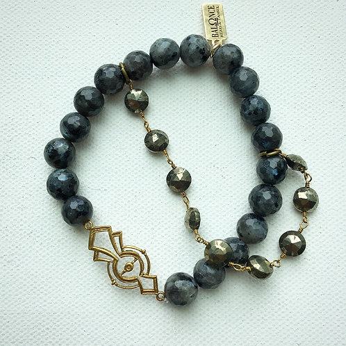 Vintage Pyrite and Labradorite Stretch Bracelet
