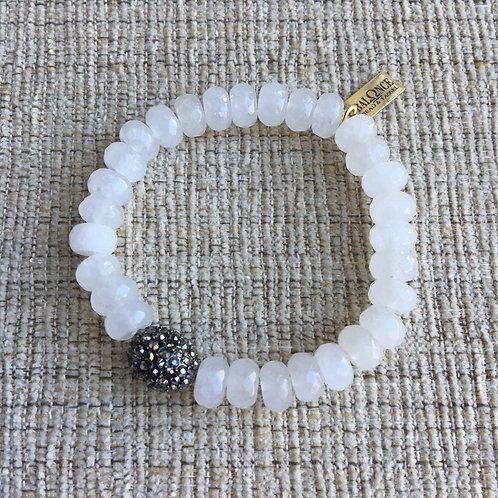 White Jade Hematite Sparkle Bracelet