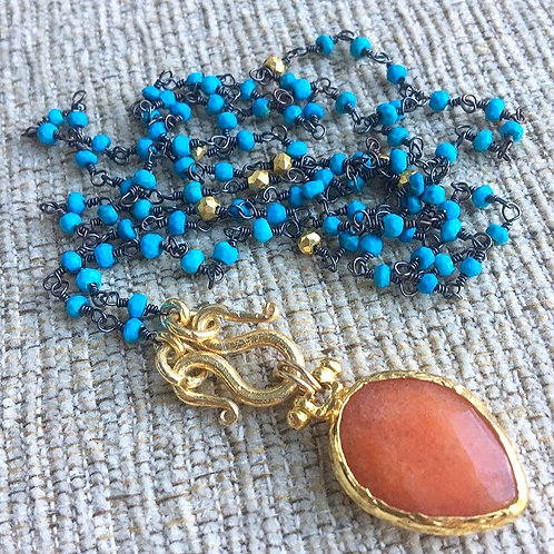 Summer Turquoise & Orange Signature Wrap Necklace