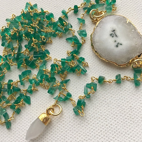 Aventurine & Moonstone Lariat Necklace