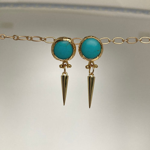 Turquoise Spike Stud Earrings